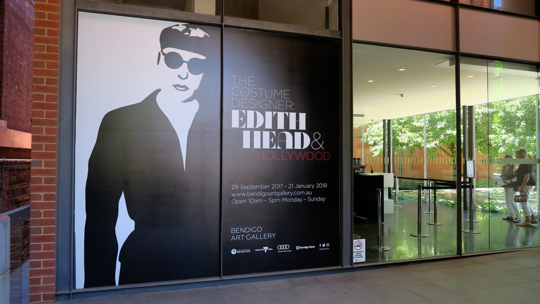 Bendigo Art Gallery entry with Edith Head banner