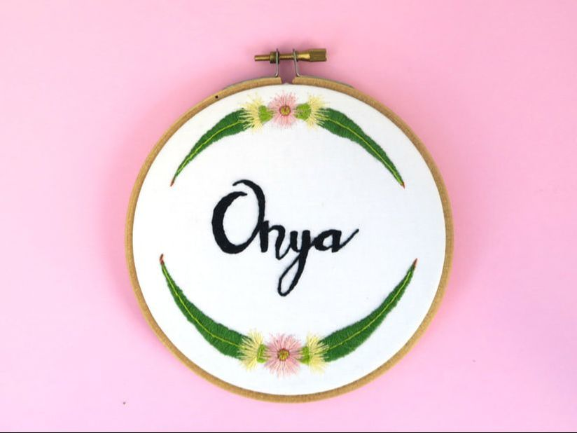 Embroidery hoop art Onya Australian slang with gum leaves and blossoms