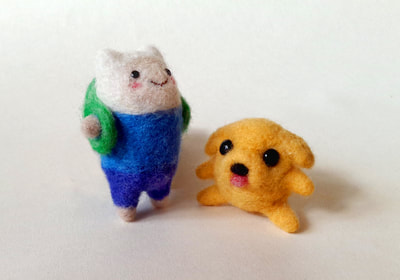 Custom needle felted Finn and Jake by Little Grassbird