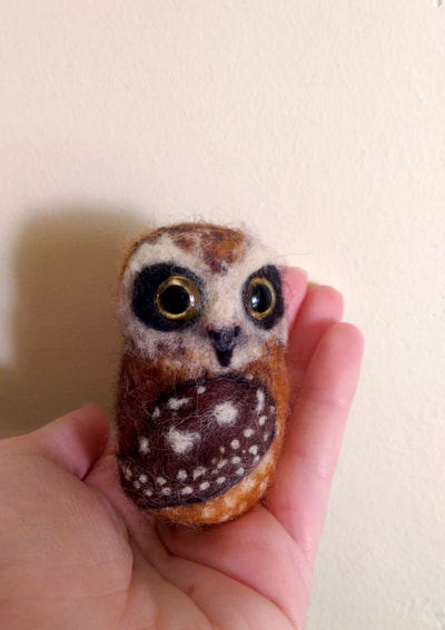Custom needle felted boobook owl by Little Grassbird
