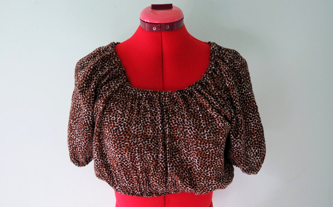 Leopard print op shop transformation into 50s style peasant blouse