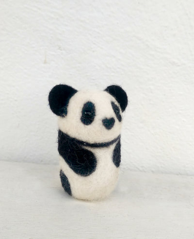 Custom needle felted panda by Little Grassbird