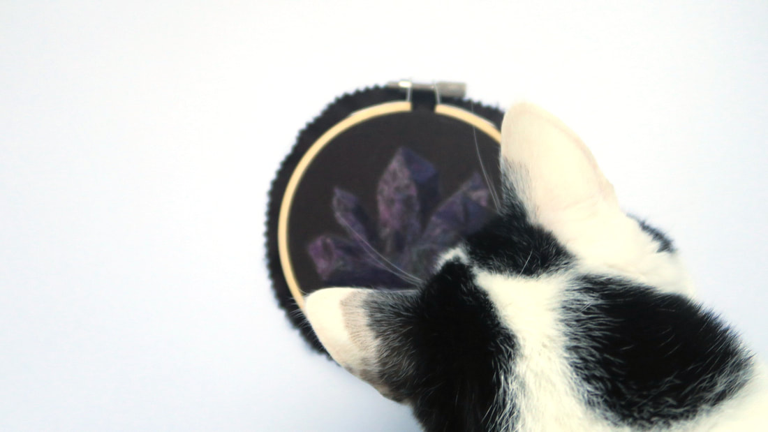 Ziggy the cat looking at the back of a wool painting embroidery hoop art